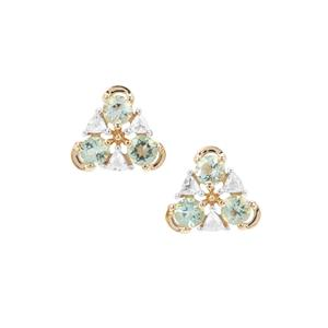 Aquaiba™ Beryl Earrings with White Zircon in 9K Gold 0.87ct