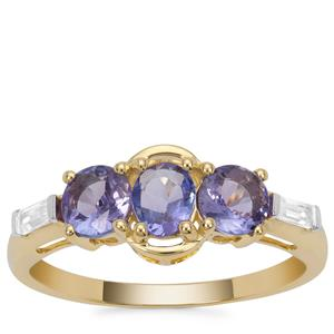 Tanzanite Ring with White Zircon in 9K Gold 1.13cts