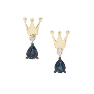 Natural Nigerian Blue Sapphire Earrings with Diamond in 9K Gold 0.59ct