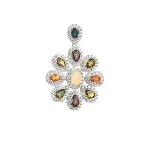 Ethiopian Opal Pendant with Multi-Color Sapphire in Sterling Silver 5.41cts