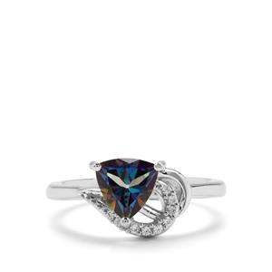 Mystic Blue Topaz & White Zircon Sterling Silver Ring ATGW 1.46cts