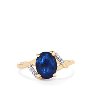 Santorinite™ Blue Spinel & Diamond 9K Gold Ring ATGW 2.04cts