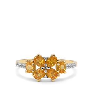 Mandarin Garnet & White Zircon 9K Gold Ring ATGW 1.30cts