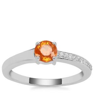 Mandarin Garnet Ring with White Zircon in Sterling Silver 0.94ct