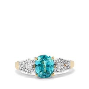 Ratanakiri Blue Zircon Ring with Diamond in 18k Gold 3.73cts