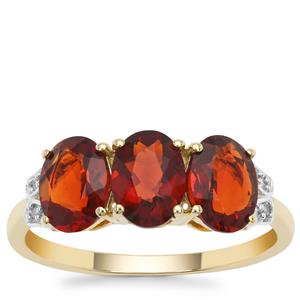 Madeira Citrine Ring with Diamond in 9K Gold 2.23cts