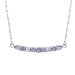 AA Tanzanite Necklace with White Zircon in Sterling Silver 1.15cts