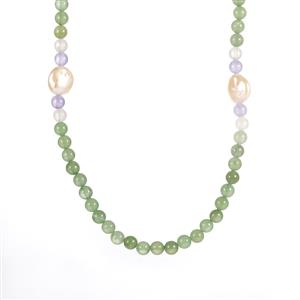Baroque Cultured Pearl, Green Aventurine, Purple Quartz & Optic Quartz Elasticated Necklace