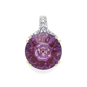 Lehrer KaleidosCut Ametista Amethyst, Malagasy Ruby Pendant with Diamond in 10K Gold 4.81cts (F)