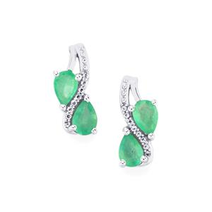 Zambian Emerald Earrings with White Topaz in Sterling Silver 1.47cts