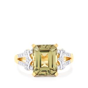 Csarite® Ring with Diamond in 18K Gold 4.48cts