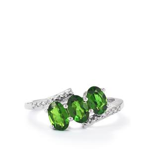 Chrome Diopside & Diamond 9K White Gold Ring ATGW 1.47cts