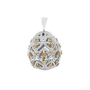 Morafeno Sphene Moscow Egg Pendant in Sterling Silver 2.75cts