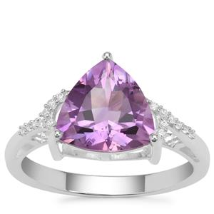 Moroccan Amethyst Ring with White Zircon in Sterling Silver 2.99cts