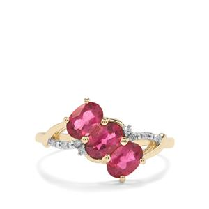 Cruzeiro Rubellite Ring with Diamond in 9K Gold 1.17cts