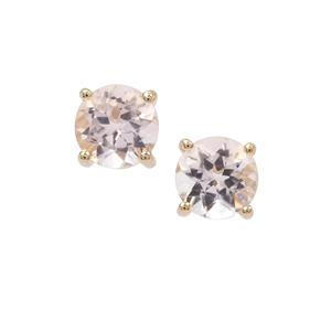 Nigerian Morganite Earrings in 9K Gold 1.19cts