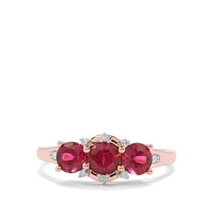 Cruzeiro Rubellite Ring with Diamond in 9K Rose Gold 1.13cts