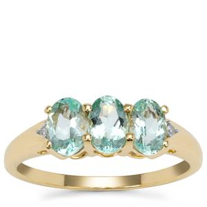 Aquaiba™ Beryl Ring with Diamond in 9K Gold 1.30cts