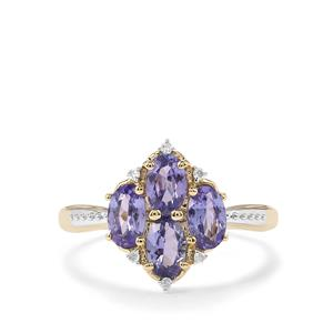 AA Tanzanite & Diamond 10K Gold Ring ATGW 1.37cts
