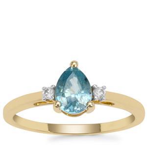 Ratanakiri Blue Zircon Ring with White Zircon in 9K Gold 1.33cts