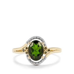 Chrome Diopside & Green Diamond 9K Gold Ring ATGW 1.37cts
