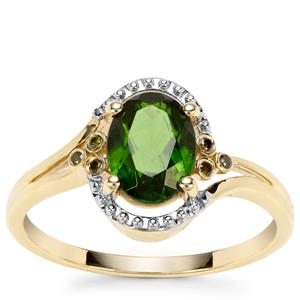 Chrome Diopside Ring with Green Diamond in 9K Gold 1.37cts