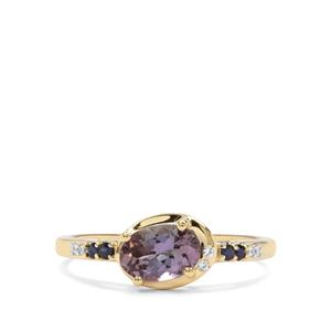 Bi Colour Tanzanite, Ceylon Blue Sapphire & White Zircon 9K Gold Ring ATGW 0.87cts