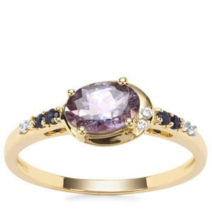 Bi Colour Tanzanite, Ceylon Blue Sapphire Ring with White Zircon in 9K Gold 0.87cts