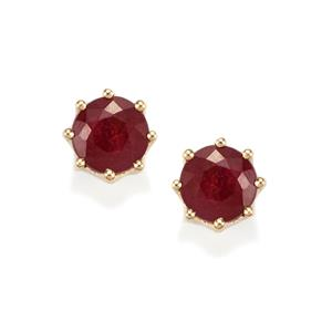 Malagasy Ruby Earrings with White Zircon in 10k Gold 5.42cts (F)
