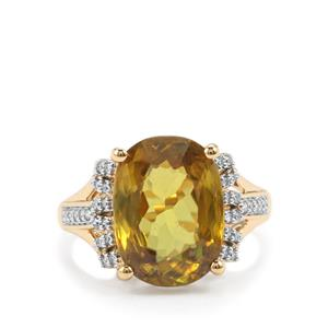 Ambilobe Sphene & Diamond 18K Gold Lorique Ring MTGW 6.53cts