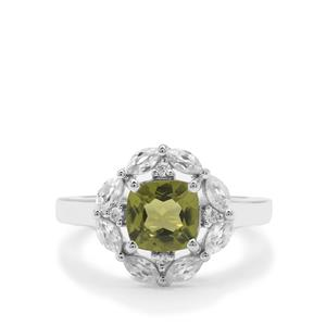 Changbai Peridot Ring with White Zircon in Sterling Silver 2.37cts