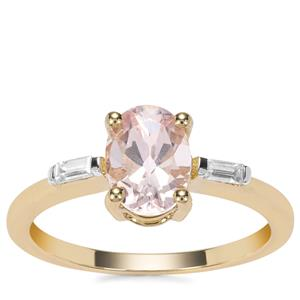 Zambezia Morganite Ring with White Zircon in 9K Gold 1.26cts