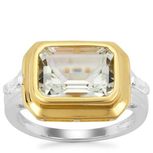 Prasiolite Ring with White Zircon in Two Tone Gold Plated Sterling Silver 3.76cts