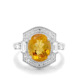Burmese Amber & White Zircon Sterling Silver Ring ATGW 2.17cts
