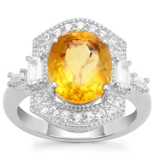 Burmese Amber Ring with White Zircon in Sterling Silver 2.17cts