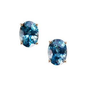 Ratanakiri Blue Zircon Earrings in 9K Gold 4.30cts