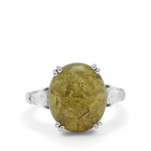 Grossular Ring with White Zircon in Sterling Silver 12.45cts