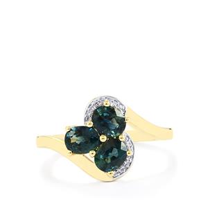 Nigerian Blue Sapphire Ring with Diamond in 10k Gold 1.37cts
