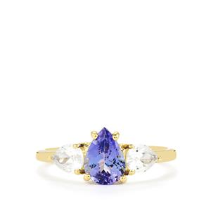 AA Tanzanite Ring with Singida Tanzanian Zircon in 10K Gold 1.94cts