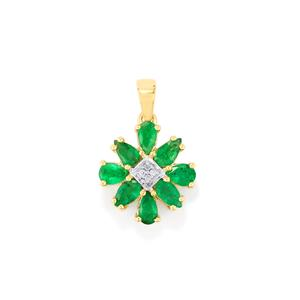 Santa Terezinha Emerald Pendant with Diamond in 10k Gold 1.63cts
