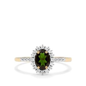 Chrome Tourmaline & White Zircon 10K Gold Ring ATGW 0.91cts