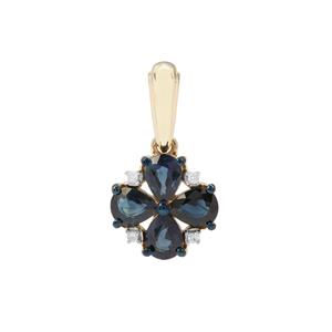 Australian Blue Sapphire Pendant with Diamond in 9K Gold 1.09cts