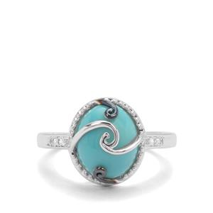Sleeping Beauty Turquoise Ring with White Zircon in Sterling Silver 3.09cts