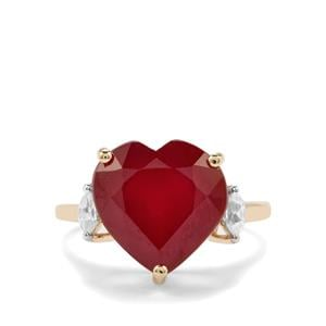 Malagasy Ruby Ring with White Zircon in 10K Gold 10.64cts (F)