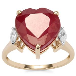 Malagasy Ruby Ring with White Zircon in 9K Gold 10.64cts (F)