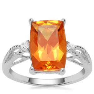 Padparadscha Quartz Ring with White Zircon in Sterling Silver 3.93cts