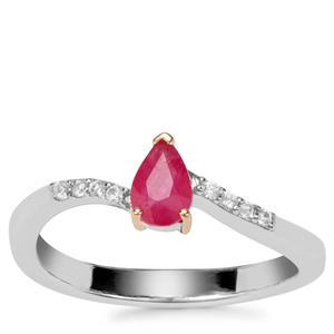 Montepuez Ruby Ring with White Zircon in Sterling Silver with 18K Gold Prong 0.53ct