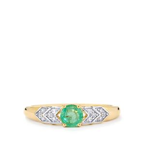 Zambian Emerald Ring with White Zircon in 10k Gold 0.52cts