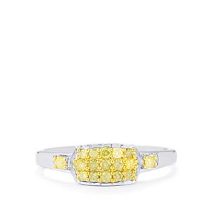 Natural Yellow Diamond Ring in Sterling Silver 0.33ct