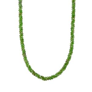 Chrome Diopside Twisted 3 Row Bead Necklace in Sterling Silver 48.65cts